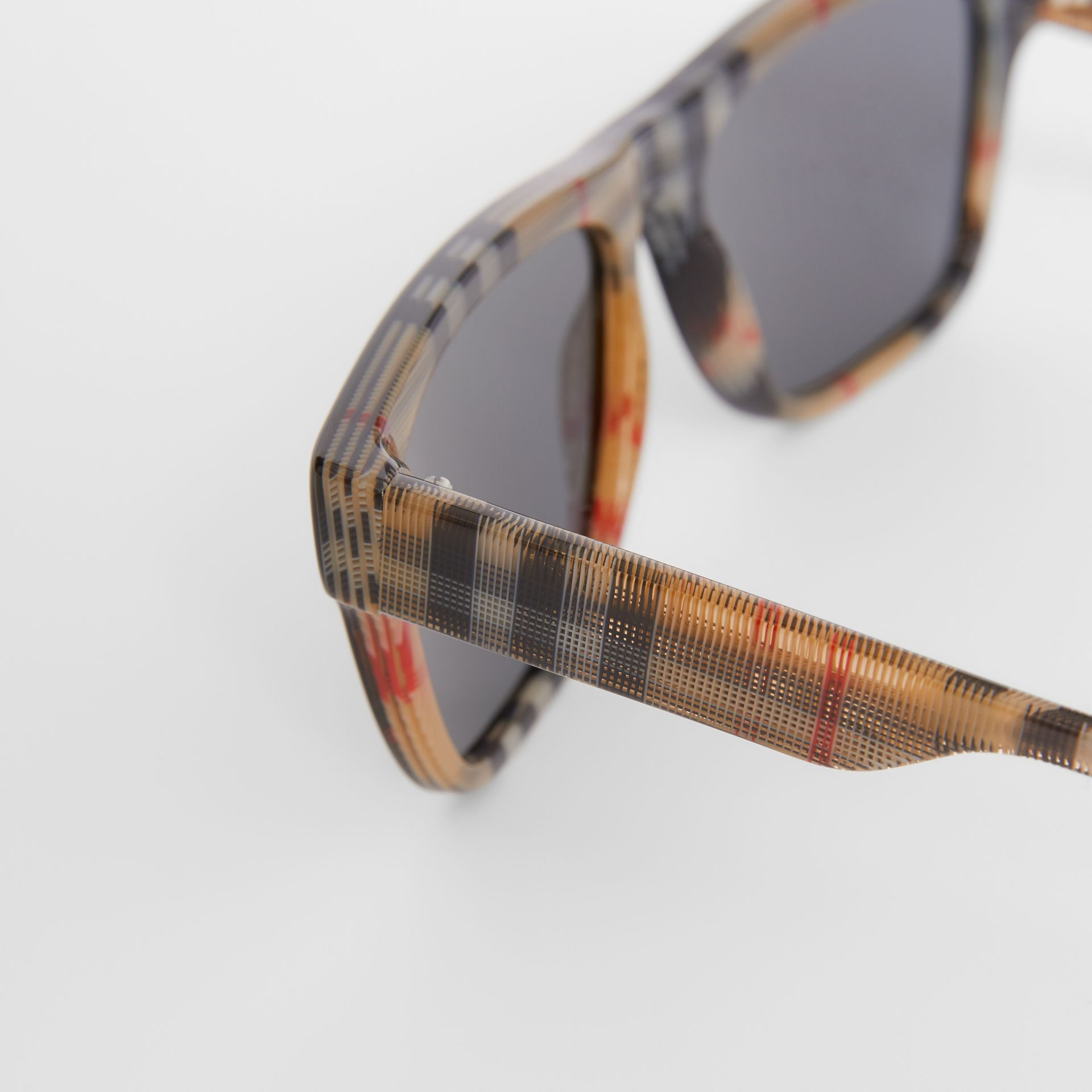 Vintage Check Detail Square Frame Sunglasses in Black / Beige - Men | Burberry - gallery image 1