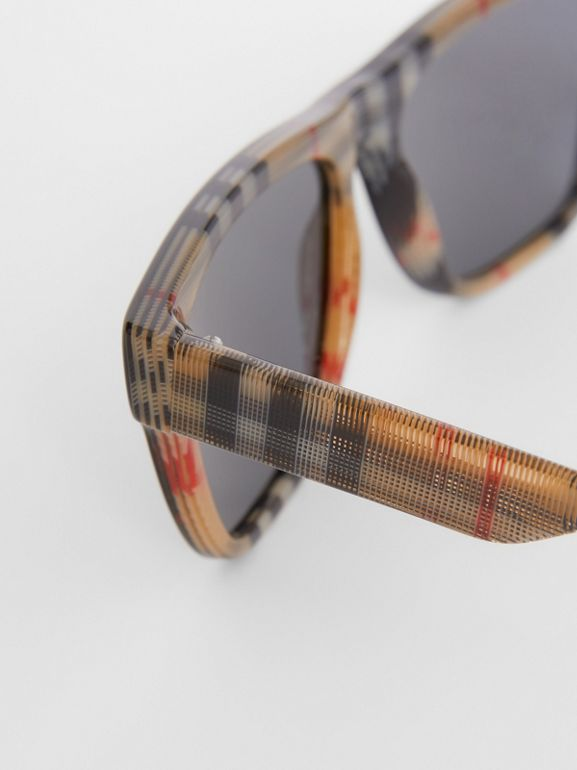 Vintage Check Detail Square Frame Sunglasses in Black / Beige - Men | Burberry - cell image 1