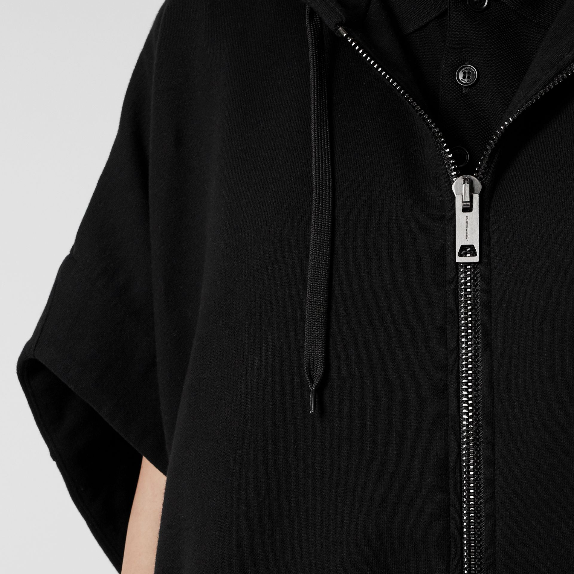 Monogram Motif Cotton Oversized Hooded Poncho in Black | Burberry - gallery image 4