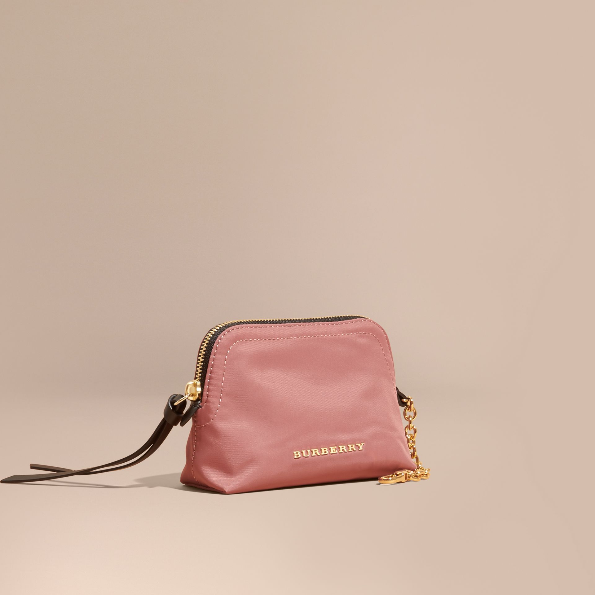 Mauve pink Small Zip-top Technical Nylon Pouch Mauve Pink - gallery image 1