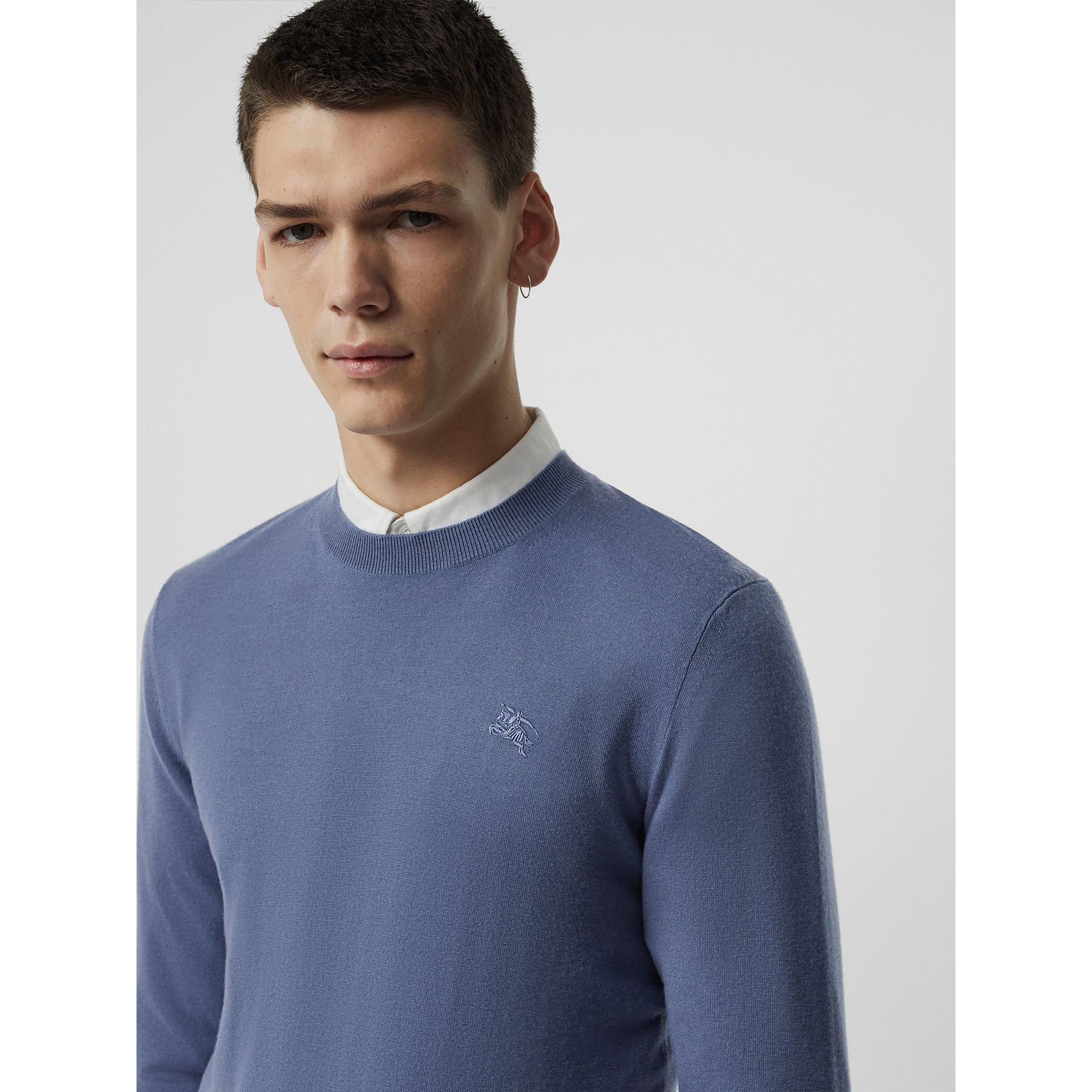 Crew Neck Cashmere Sweater in Airforce Blue - Men | Burberry - gallery image 1