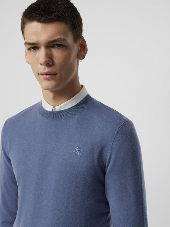 Crew Neck Cashmere Sweater in Airforce Blue - Men | Burberry - cell image 1