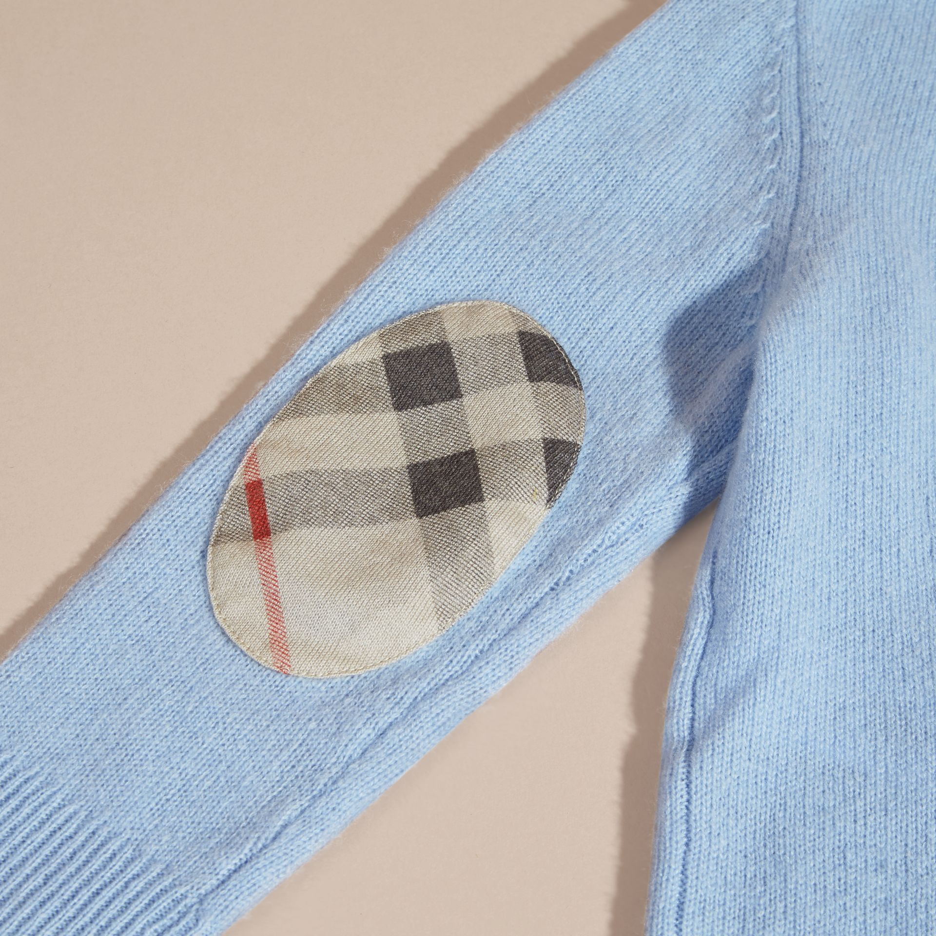 Pale cornflower blue Check Elbow Patch Cashmere Sweater Pale Cornflower Blue - gallery image 2