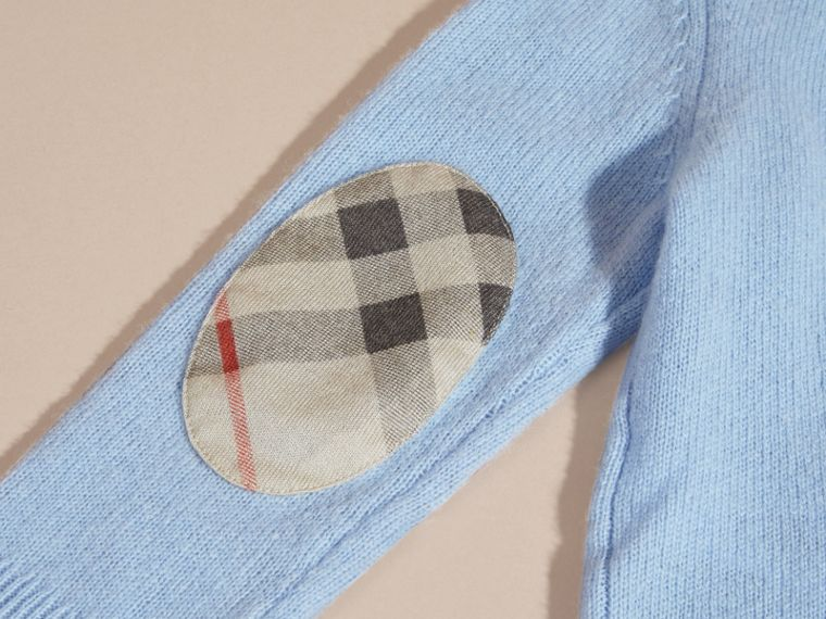 Pale cornflower blue Check Elbow Patch Cashmere Sweater Pale Cornflower Blue - cell image 1