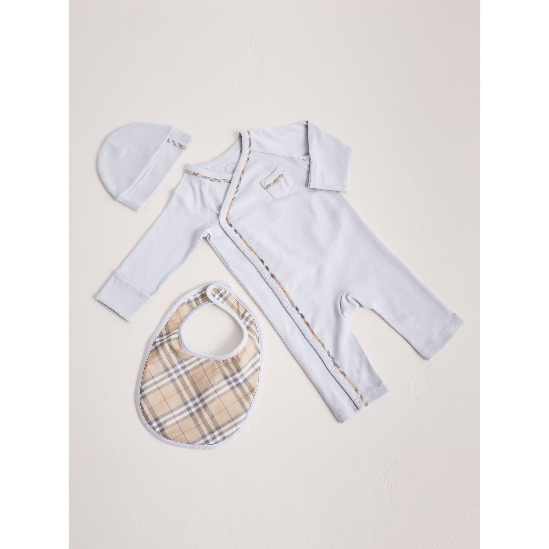 Cotton Three-piece Baby Gift Set in Ice Blue | Burberry Australia - gallery image 0