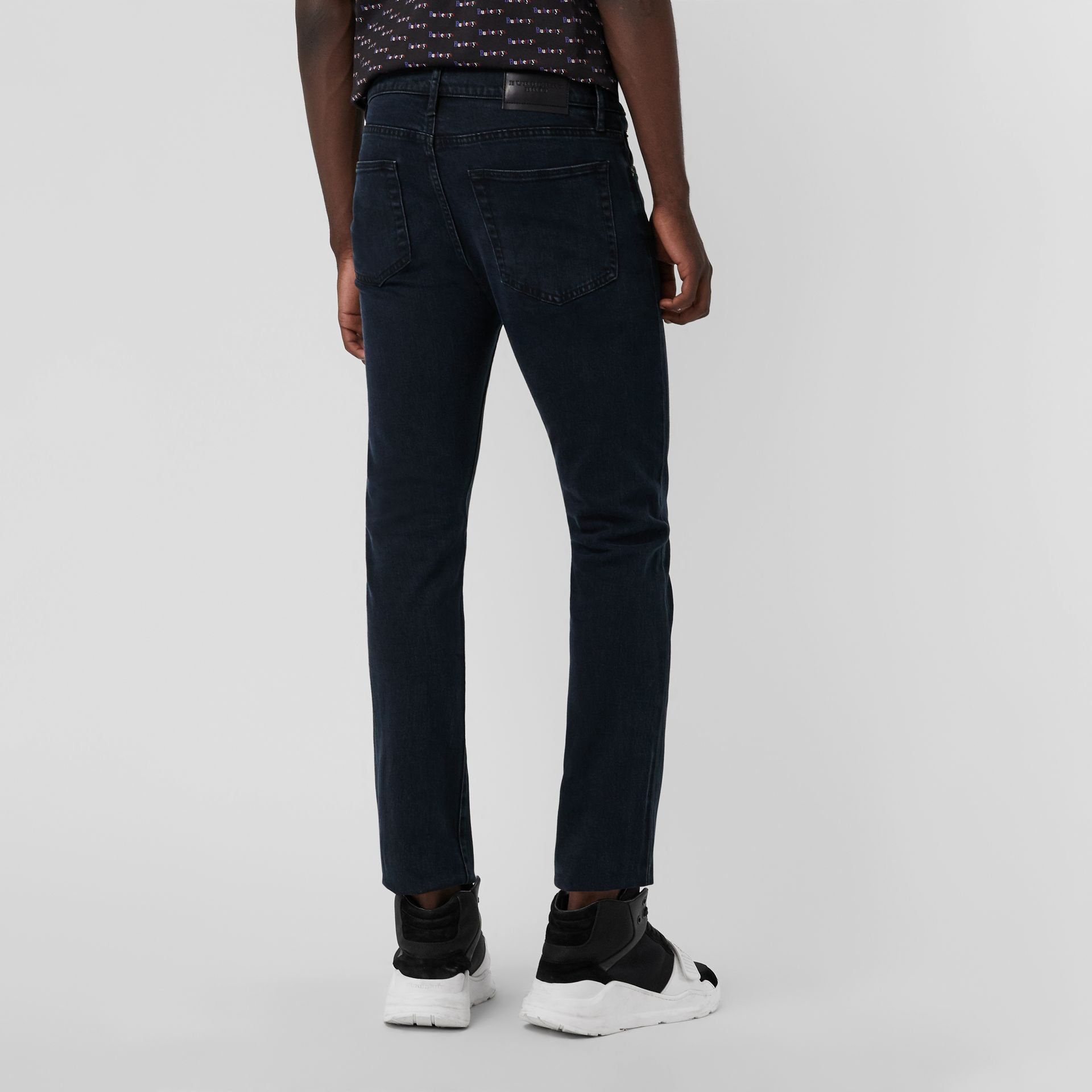Straight Fit Stretch Denim Jeans in Dark Indigo - Men | Burberry Canada - gallery image 2