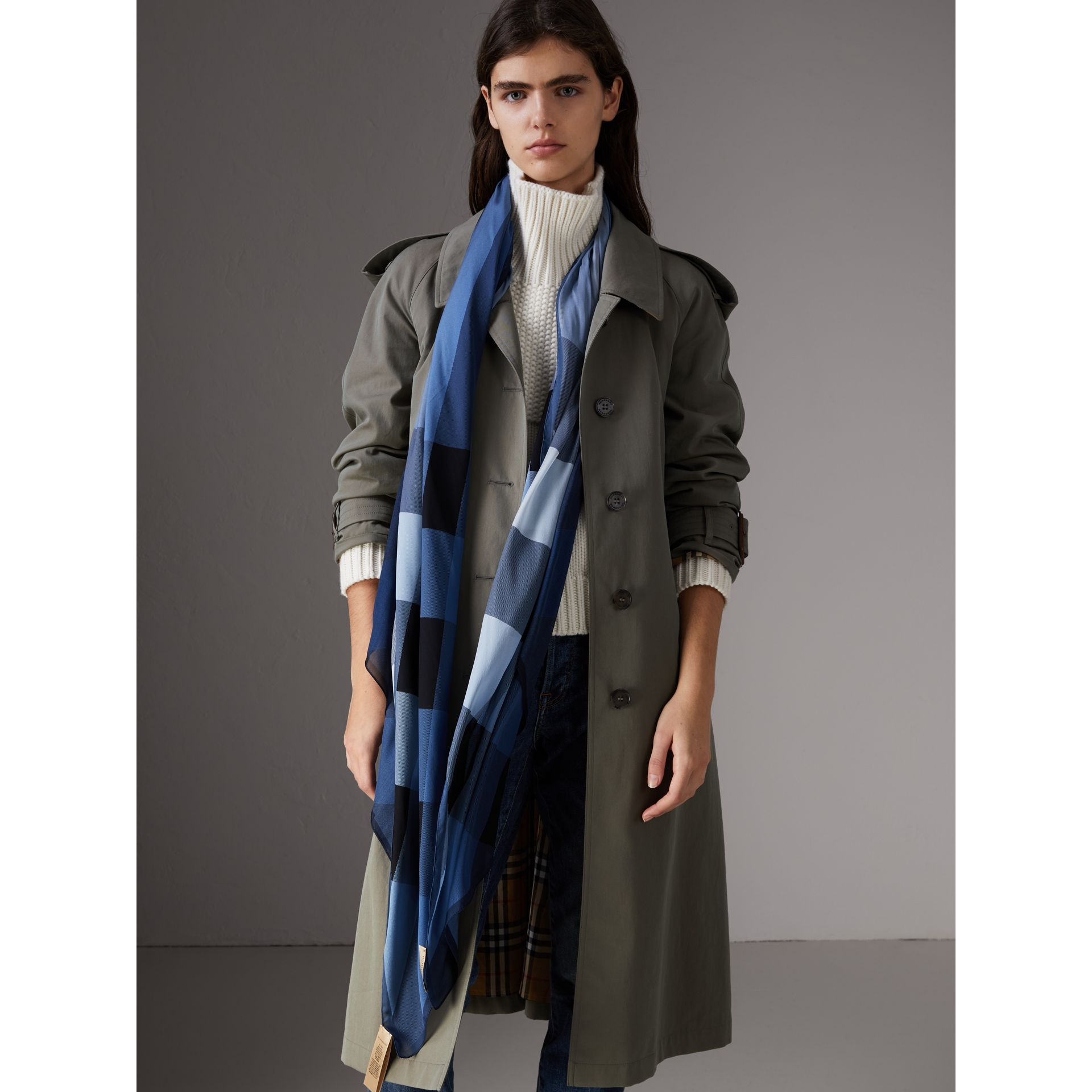 Ombré Washed Check Silk Scarf in Dusty Blue - Women | Burberry - gallery image 2