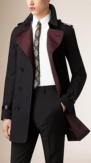 Lambskin Detail Cotton Gabardine Trench Coat