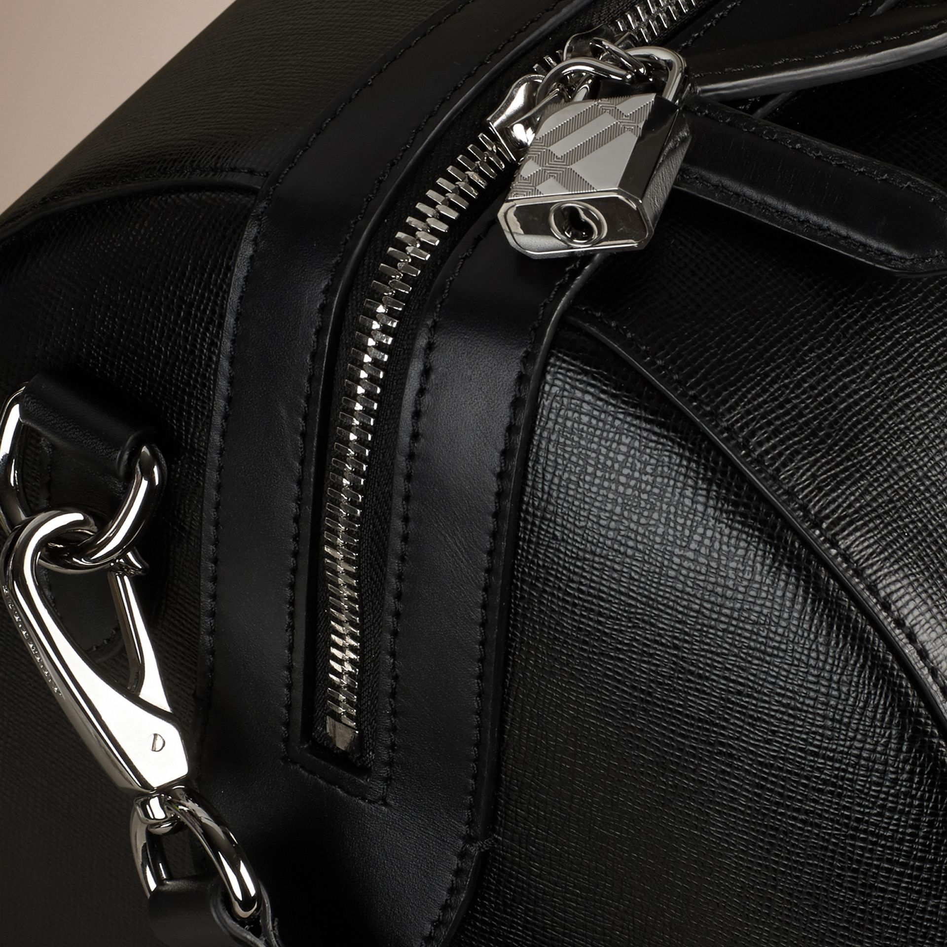 London Leather Holdall in Black | Burberry Canada - gallery image 6