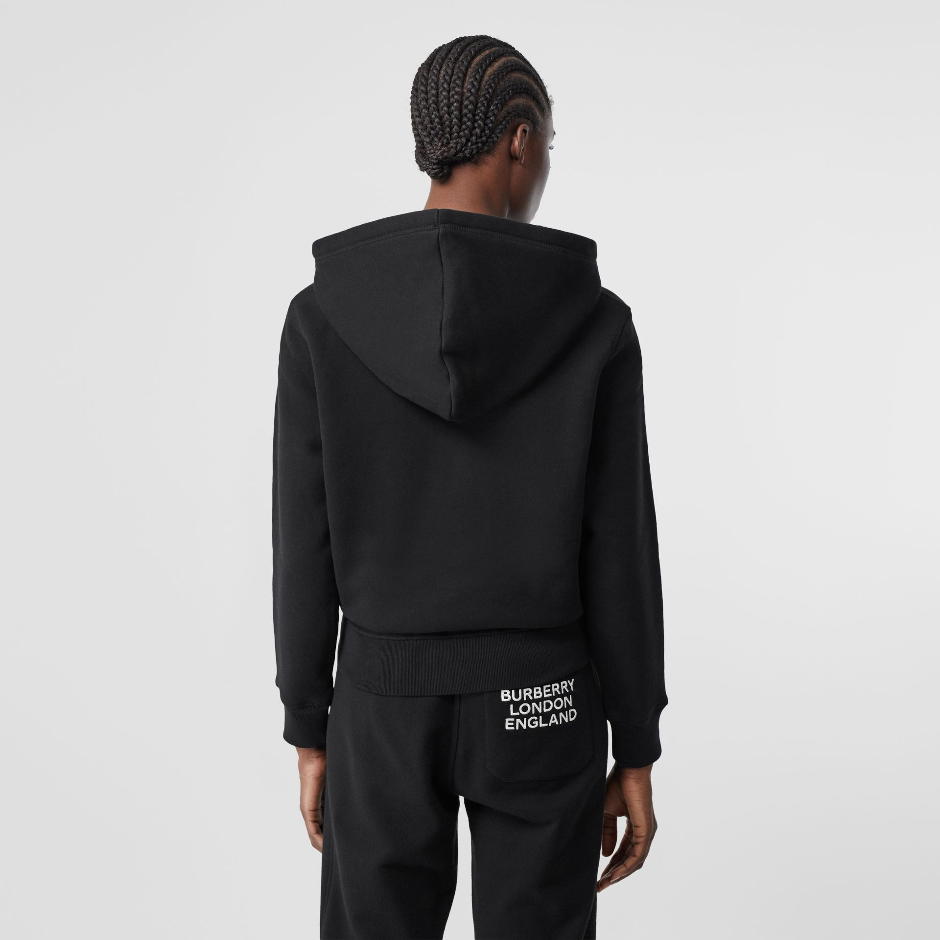Embroidered Archive Logo Jersey Hoodie in Black - Women | Burberry - gallery image 2