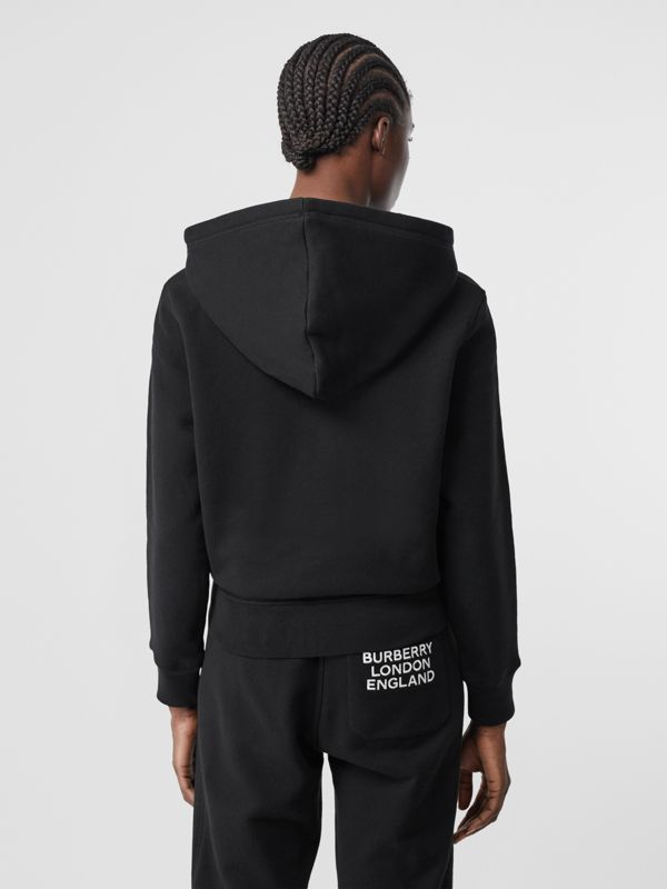 Embroidered Archive Logo Jersey Hoodie in Black - Women | Burberry - cell image 2