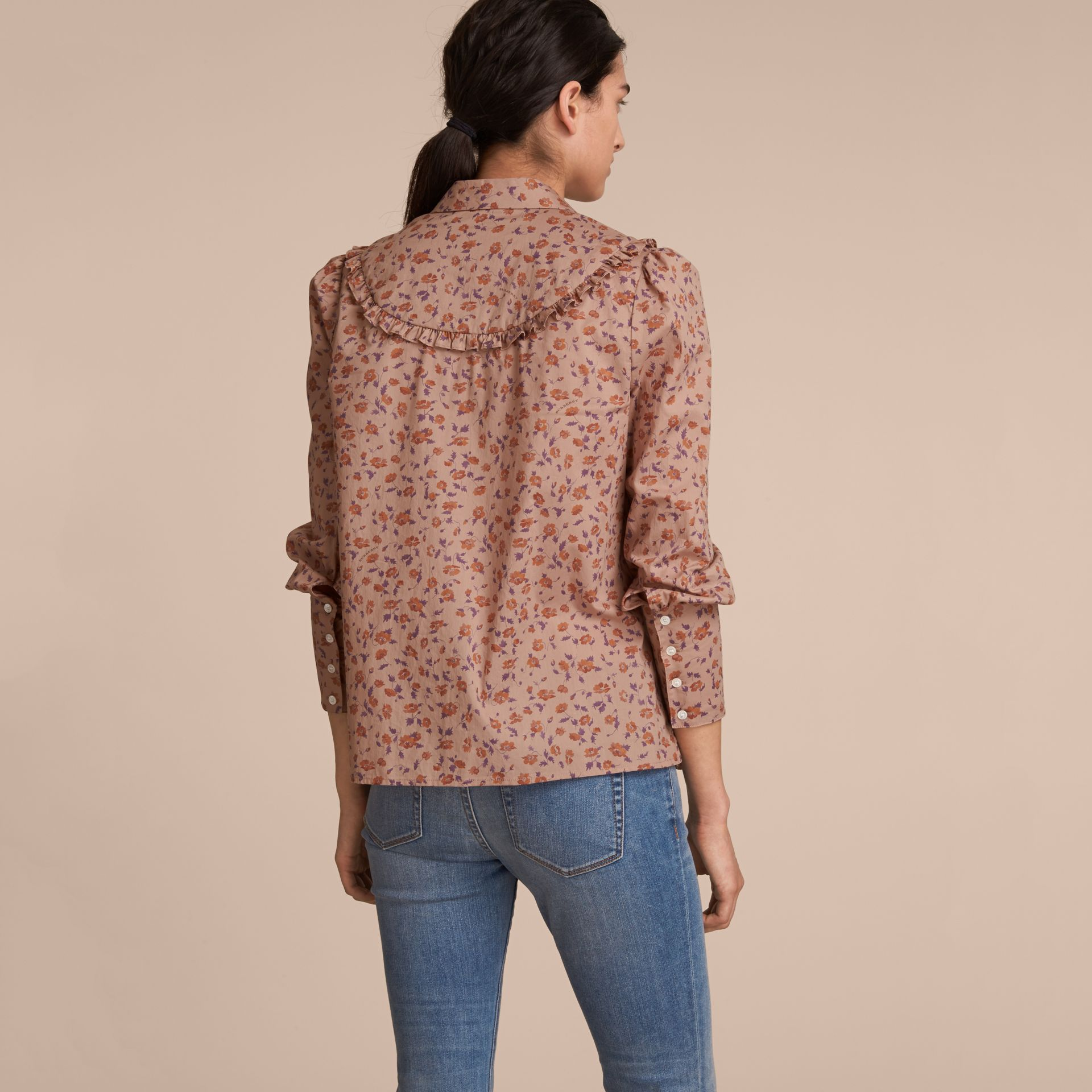 Ruffle Yoke Floral Print Cotton Shirt in Light Copper - Women | Burberry - gallery image 3