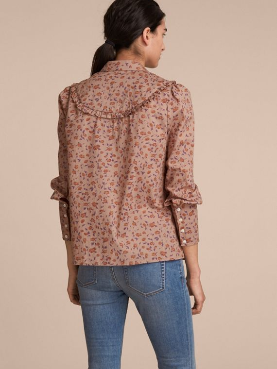 Ruffle Yoke Floral Print Cotton Shirt in Light Copper - Women | Burberry - cell image 2
