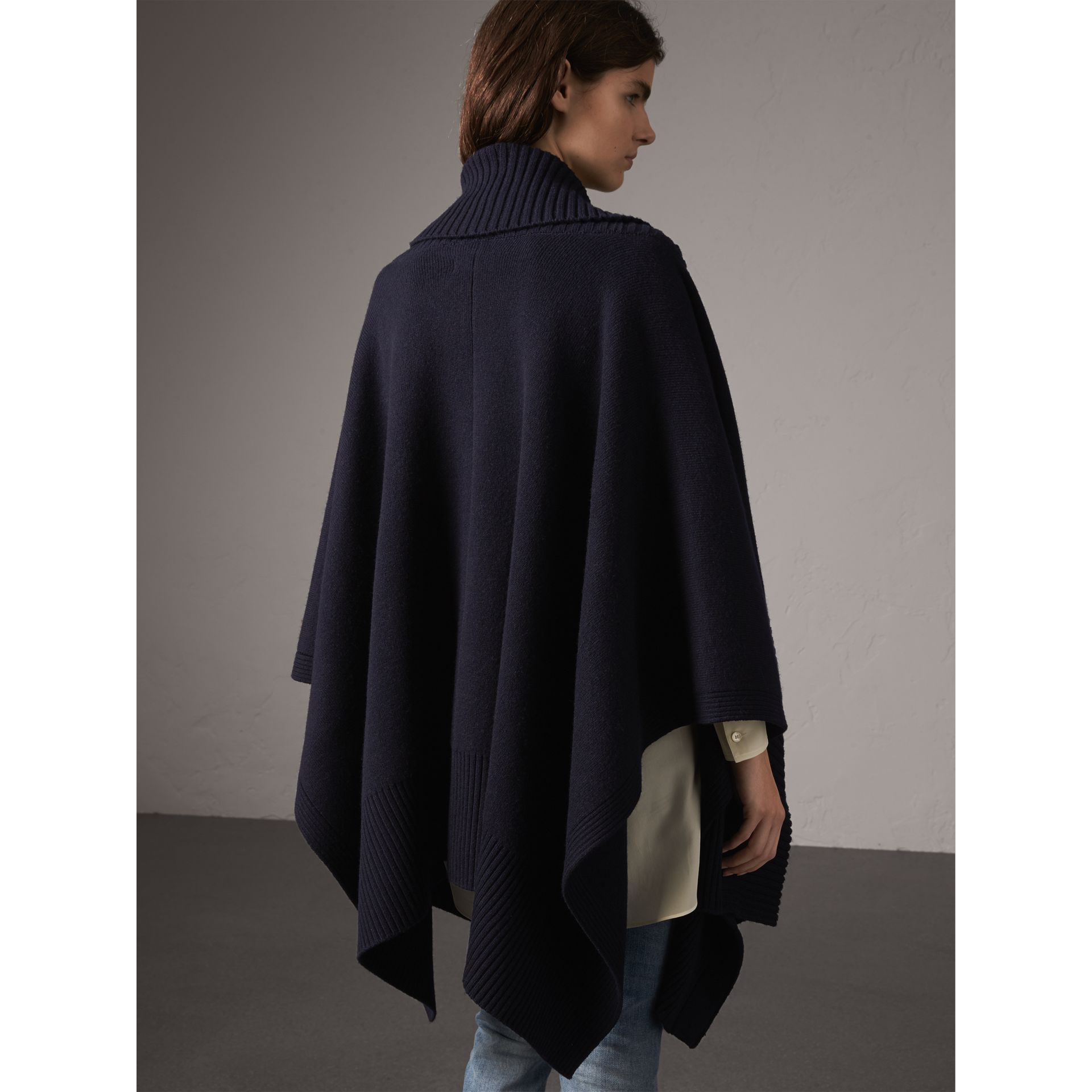 Shawl Collar Wool Cashmere Poncho in Indigo - Women | Burberry - gallery image 3