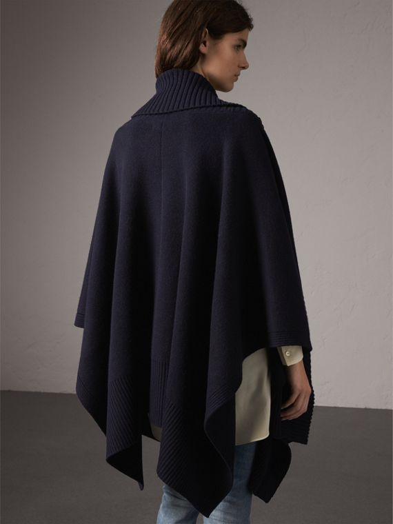 Shawl Collar Wool Cashmere Poncho in Indigo - Women | Burberry - cell image 2
