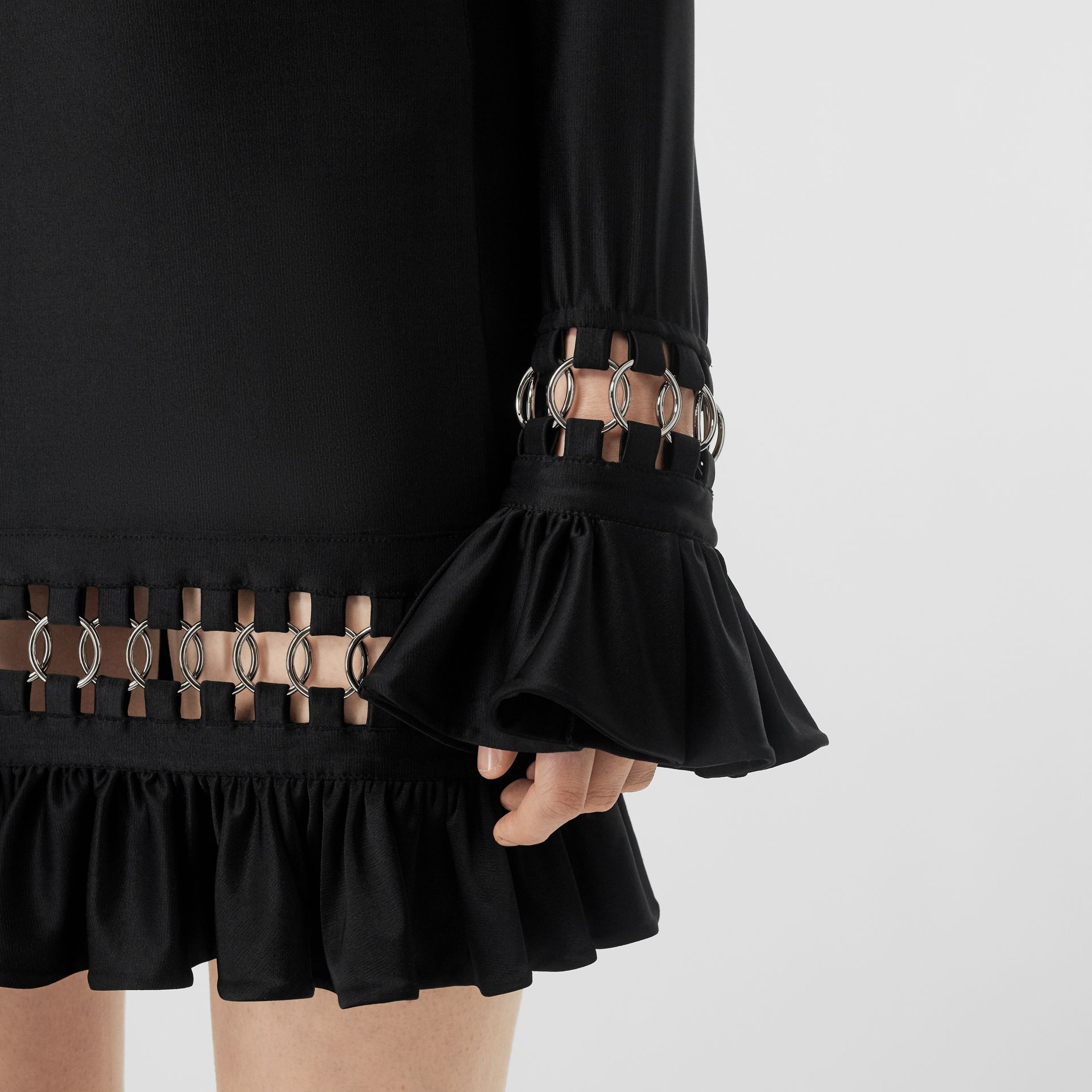 Ring-pierced Stretch Jersey Mini Dress in Black - Women | Burberry - gallery image 4