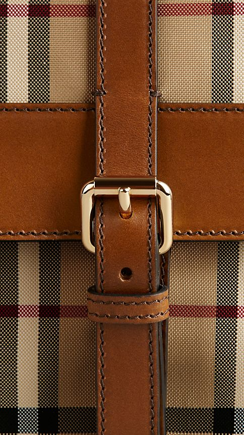 Tan Horseferry Check and Leather Crossbody Bag - Image 7