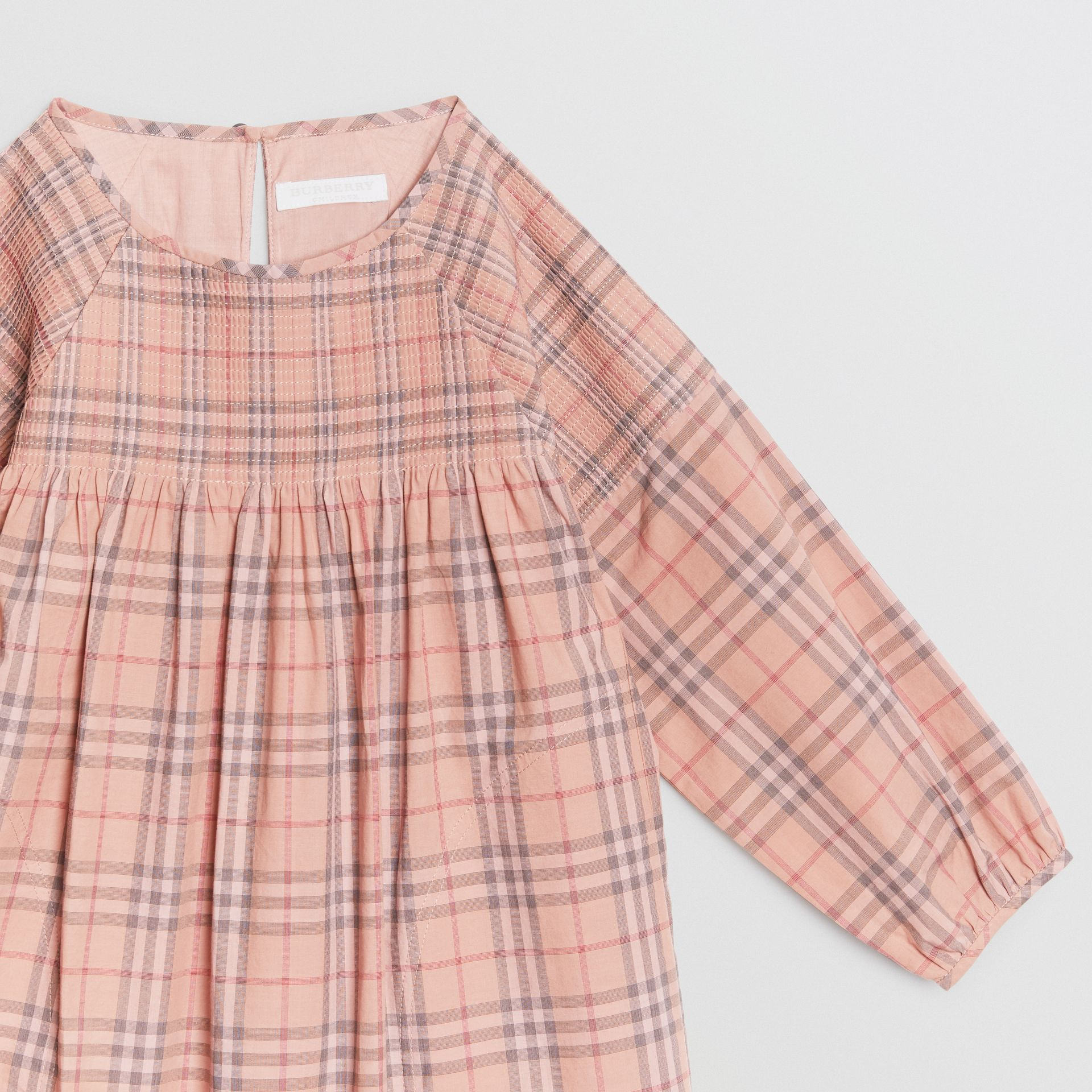 Check Cotton Poplin Dress in Pale Pink - Children | Burberry - gallery image 4