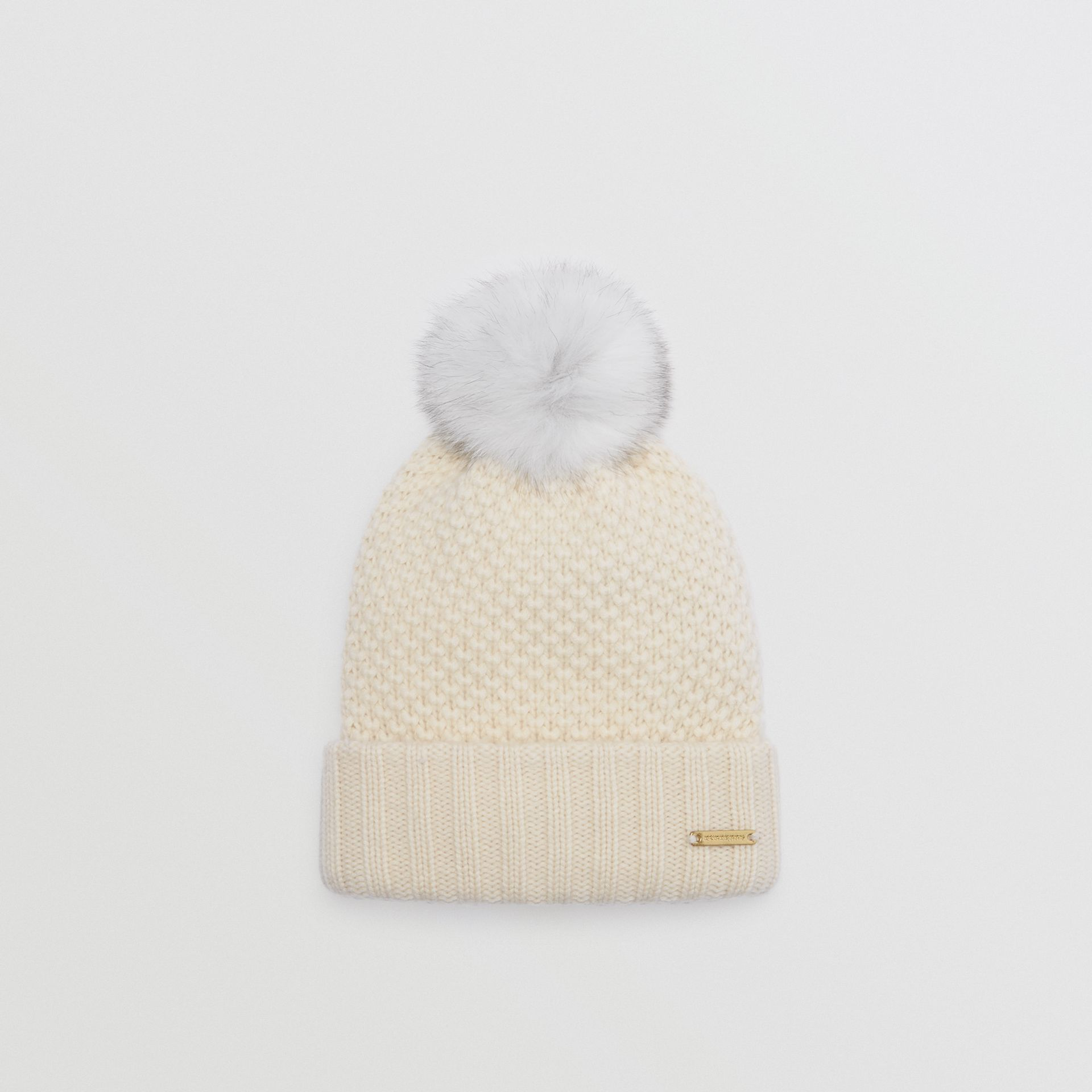 Fur Pom-Pom Beanie in Ivory - Women | Burberry United Kingdom - gallery image 0