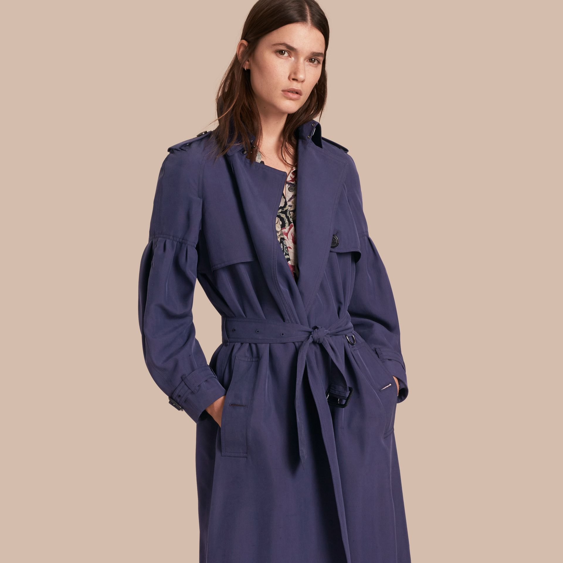 Oversize Silk Trench Coat with Puff Sleeves in Navy - gallery image 1