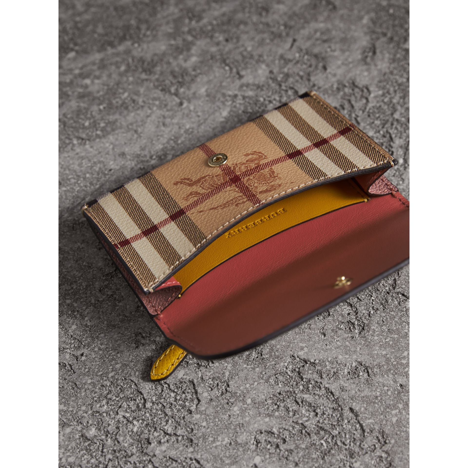 Leather and Haymarket Check Mini Wallet in Dusty Pink / Multicolour - Women | Burberry Singapore - gallery image 4
