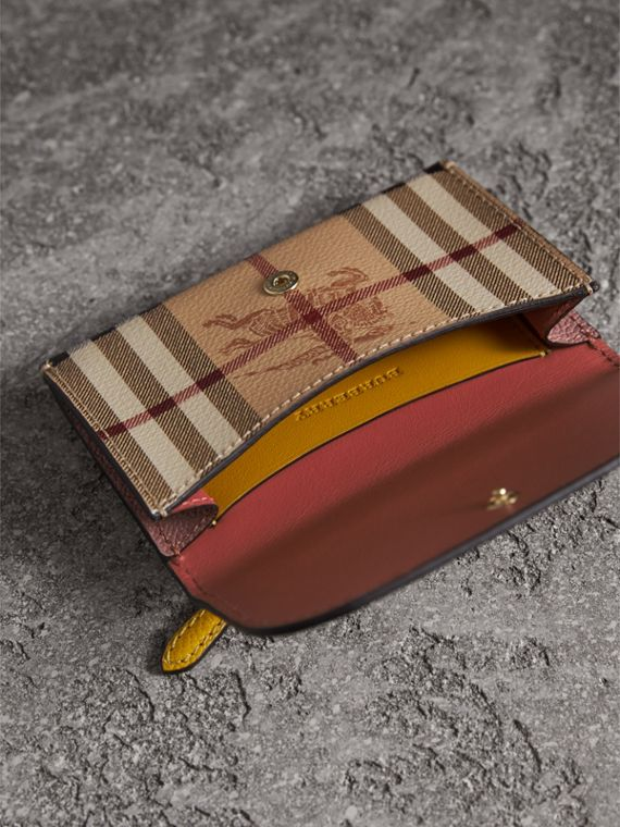 Leather and Haymarket Check Mini Wallet in Dusty Pink / Multicolour - Women | Burberry Singapore - cell image 3