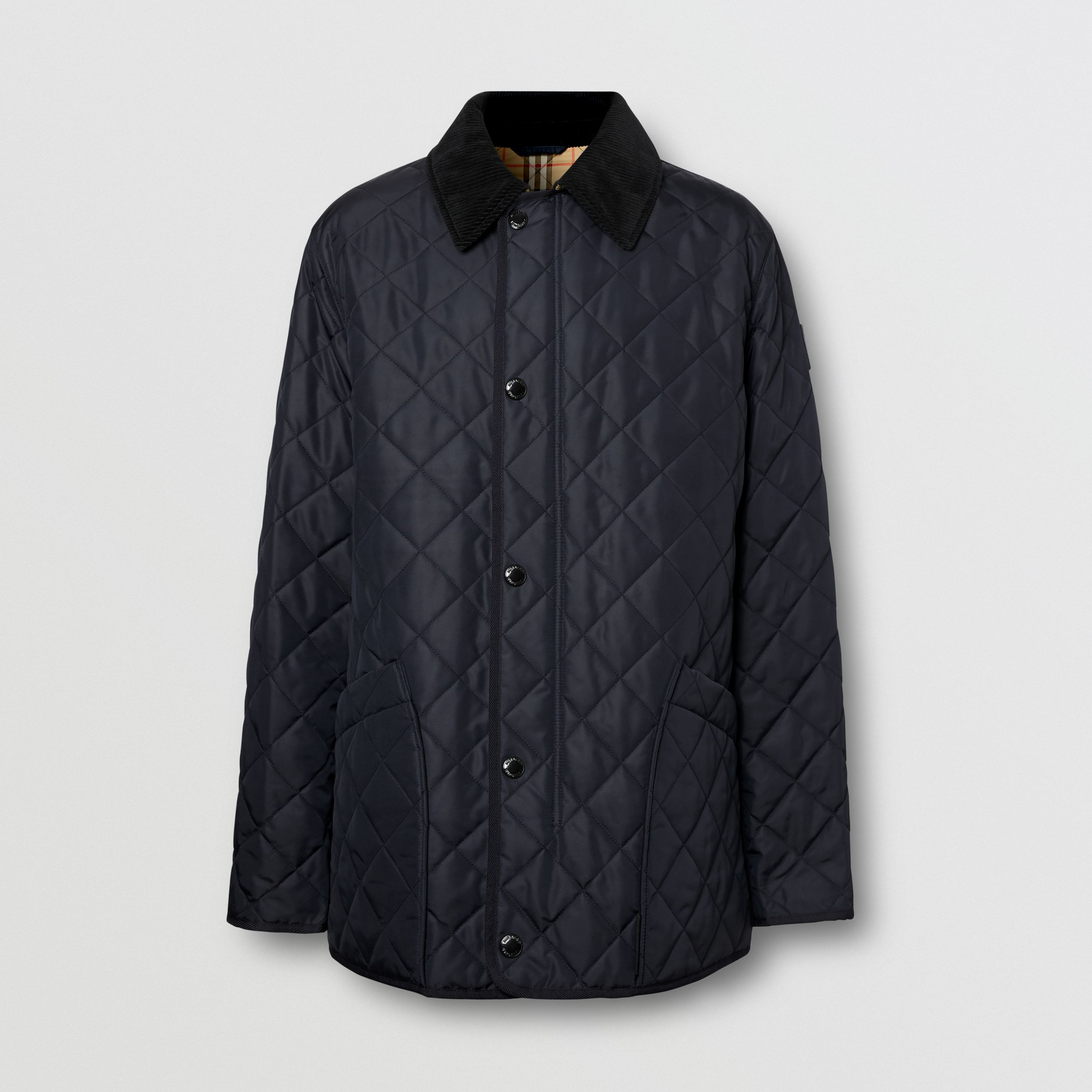 Diamond Quilted Thermoregulated Barn Jacket in Navy - Men | Burberry - 4