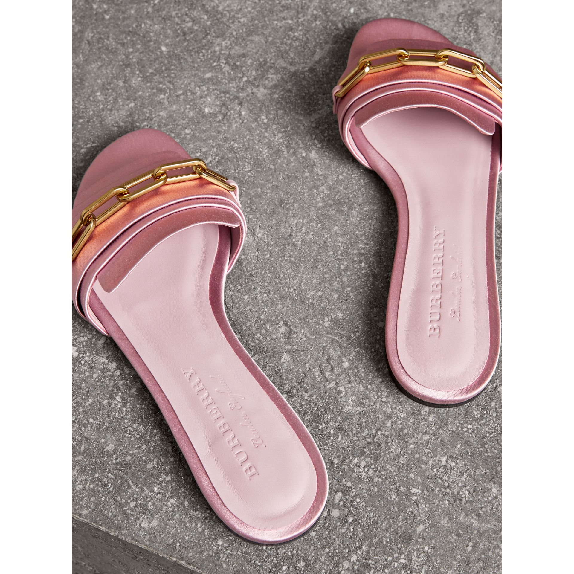 Link Detail Satin and Leather Slides in Light Pink Melange - Women | Burberry - gallery image 2