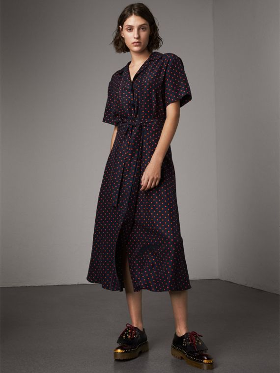 Шелковое чайное платье в горошек (Парадный Красный)