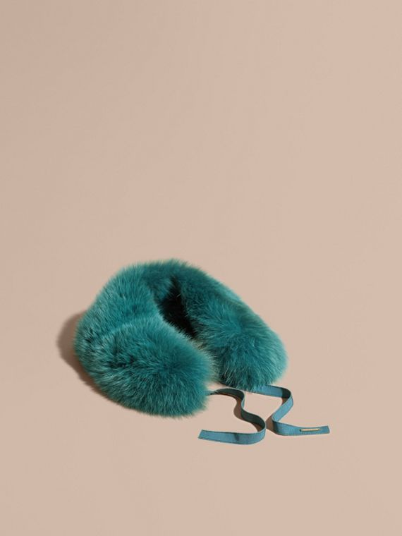 Fox Fur Collar with Check Cashmere Lining Dark Aqua