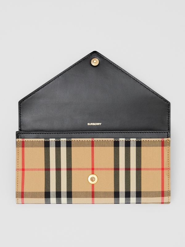 Vintage Check and Leather Continental Wallet in Black - Women | Burberry - cell image 2