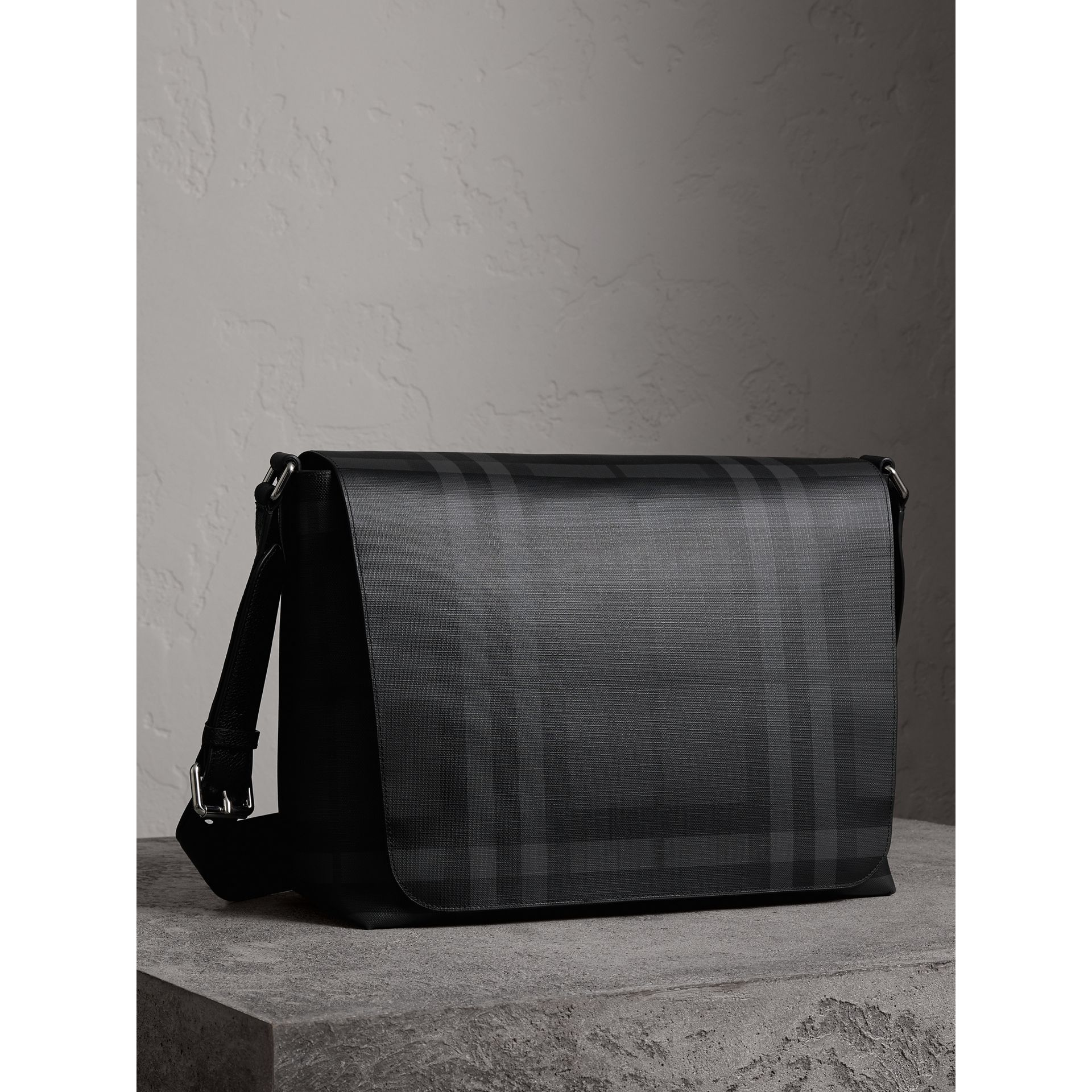 Large London Check Messenger Bag in Charcoal/black | Burberry - gallery image 5
