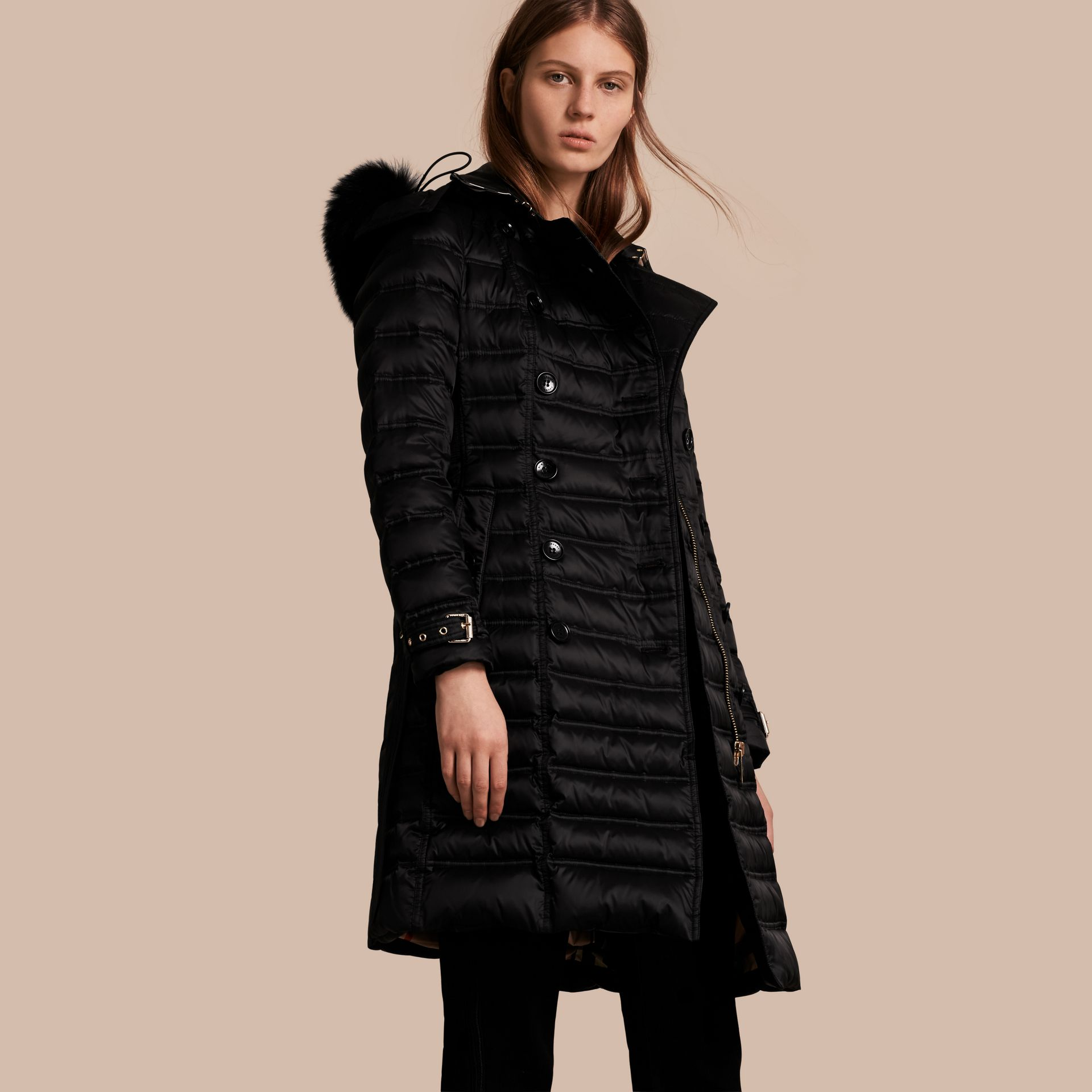 Black Down-Filled Puffer Coat with Fur Trim Black - gallery image 1