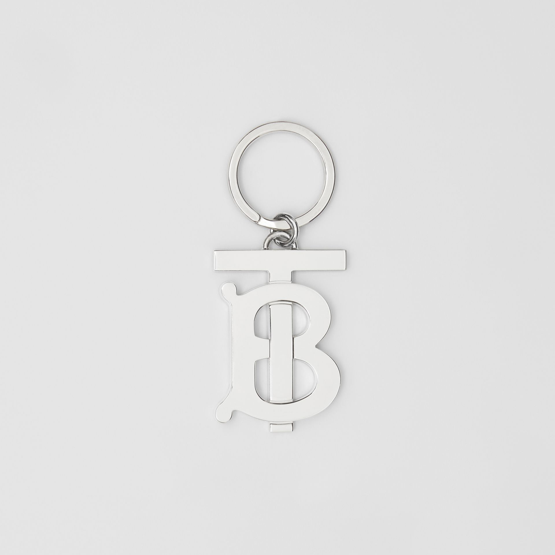 Monogram Motif Palladium-plated Key Ring in Silver - Men | Burberry - gallery image 0