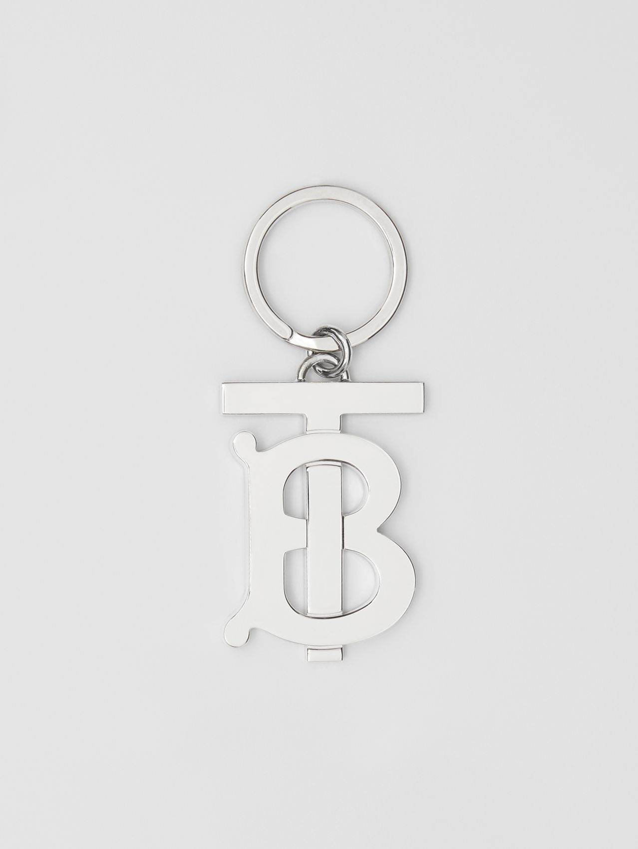 Monogram Motif Palladium-plated Key Ring in Silver