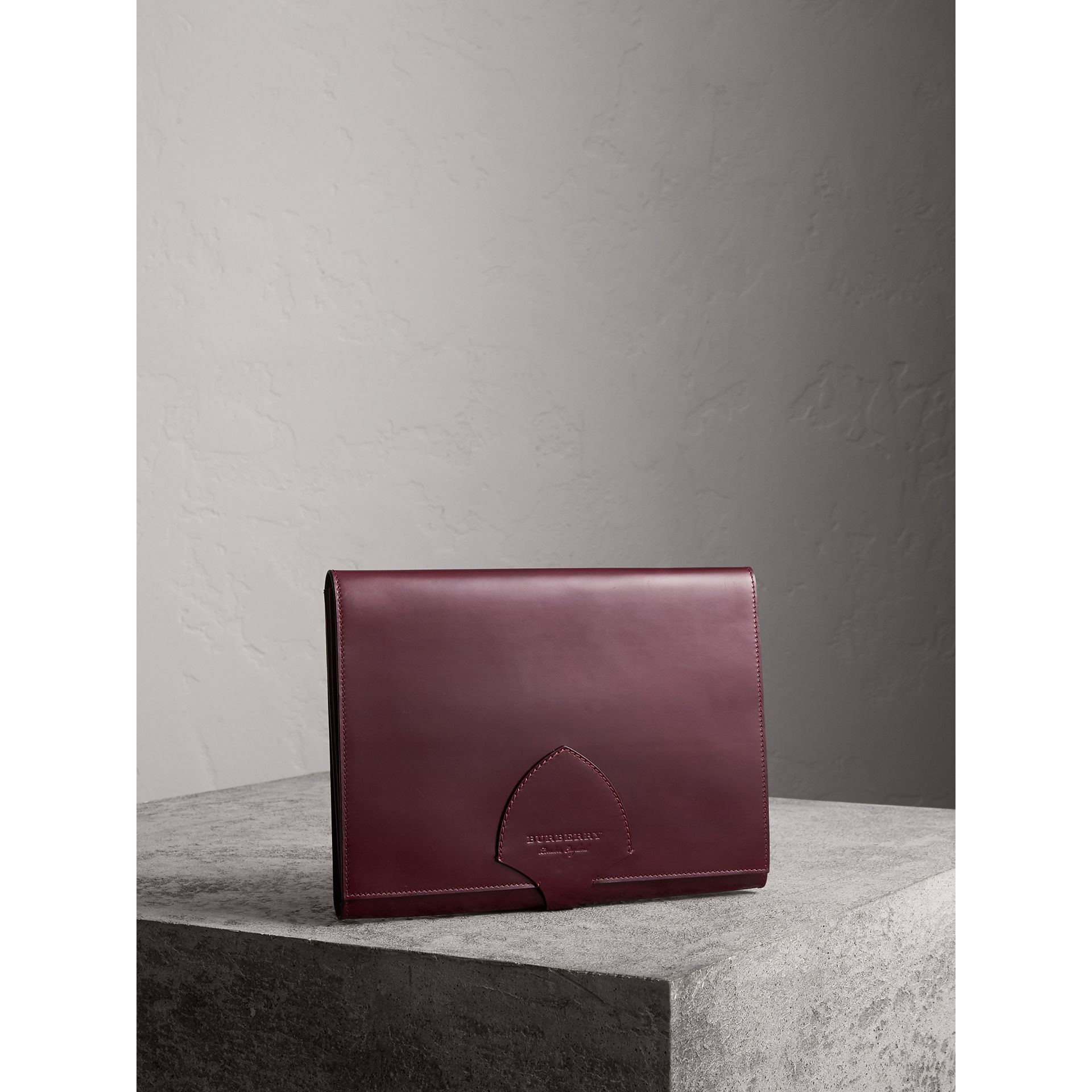 Equestrian Shield Leather A4 Document Case in Deep Claret - Men | Burberry - gallery image 4