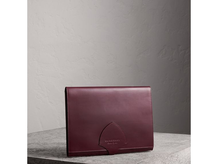 Equestrian Shield Leather A4 Document Case in Deep Claret - Men | Burberry Australia - cell image 4