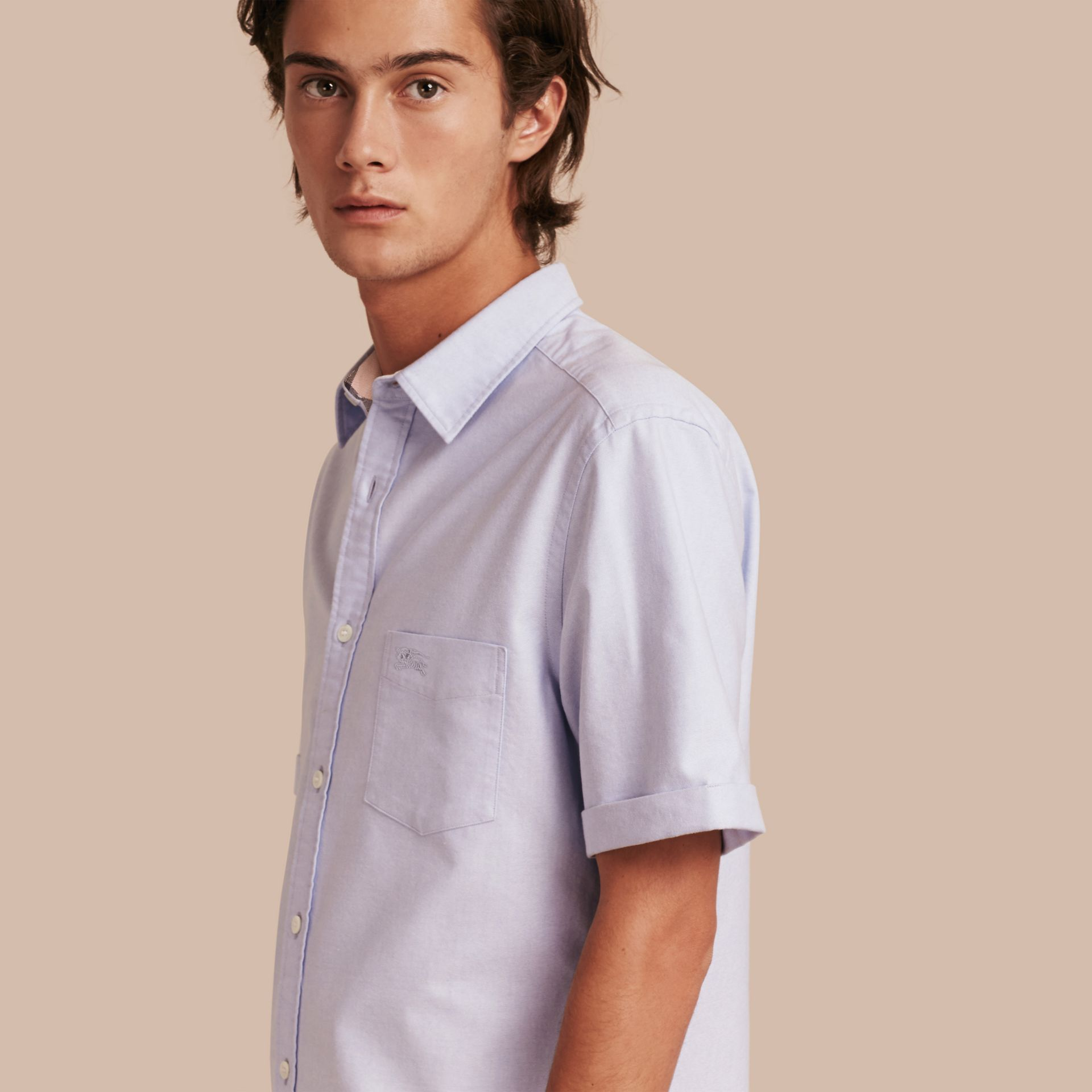 Check Detail Short-Sleeved Cotton Oxford Shirt in Cornflower Blue - Men | Burberry - gallery image 6