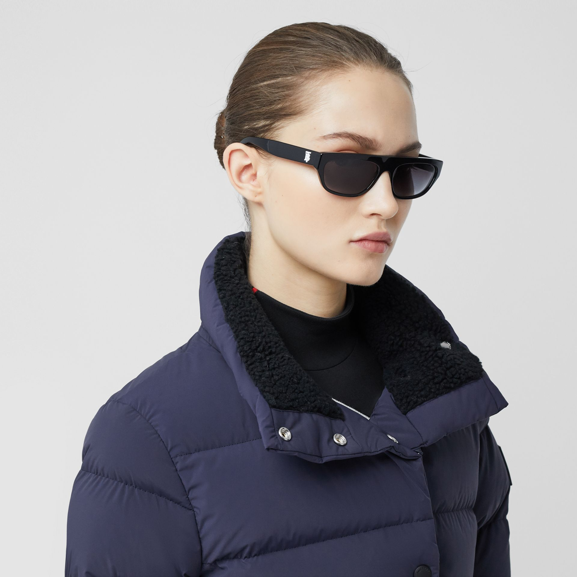 Detachable Hood Belted Puffer Coat in Navy - Women | Burberry Hong Kong S.A.R - gallery image 1