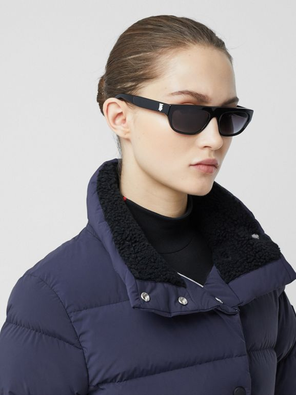 Detachable Hood Belted Puffer Coat in Navy - Women | Burberry Hong Kong S.A.R - cell image 1