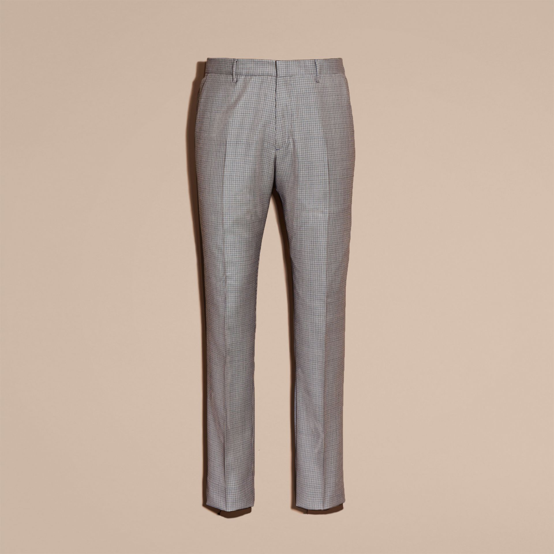 Slim Fit Houndstooth Wool Trousers in Light Blue - Men | Burberry - gallery image 4