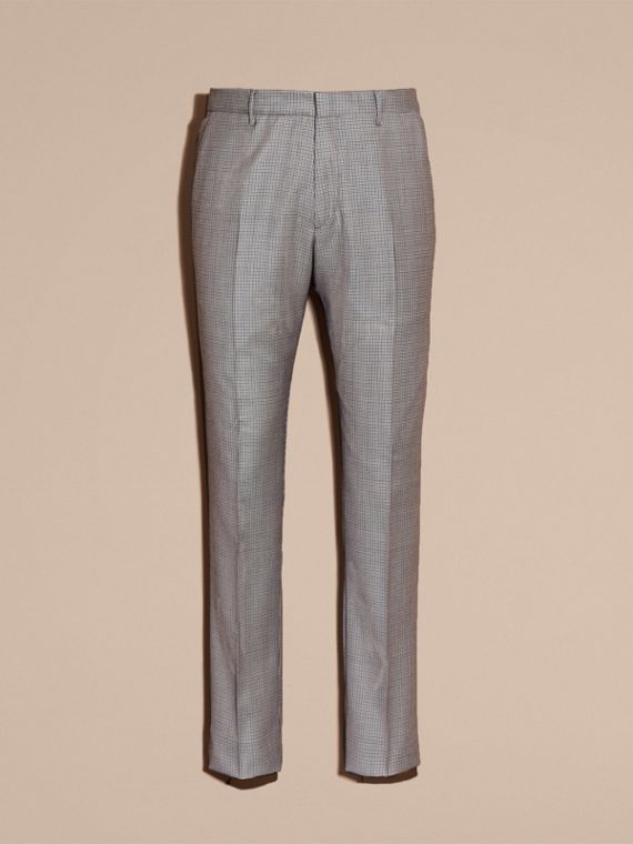 Slim Fit Houndstooth Wool Trousers - Men | Burberry - cell image 3