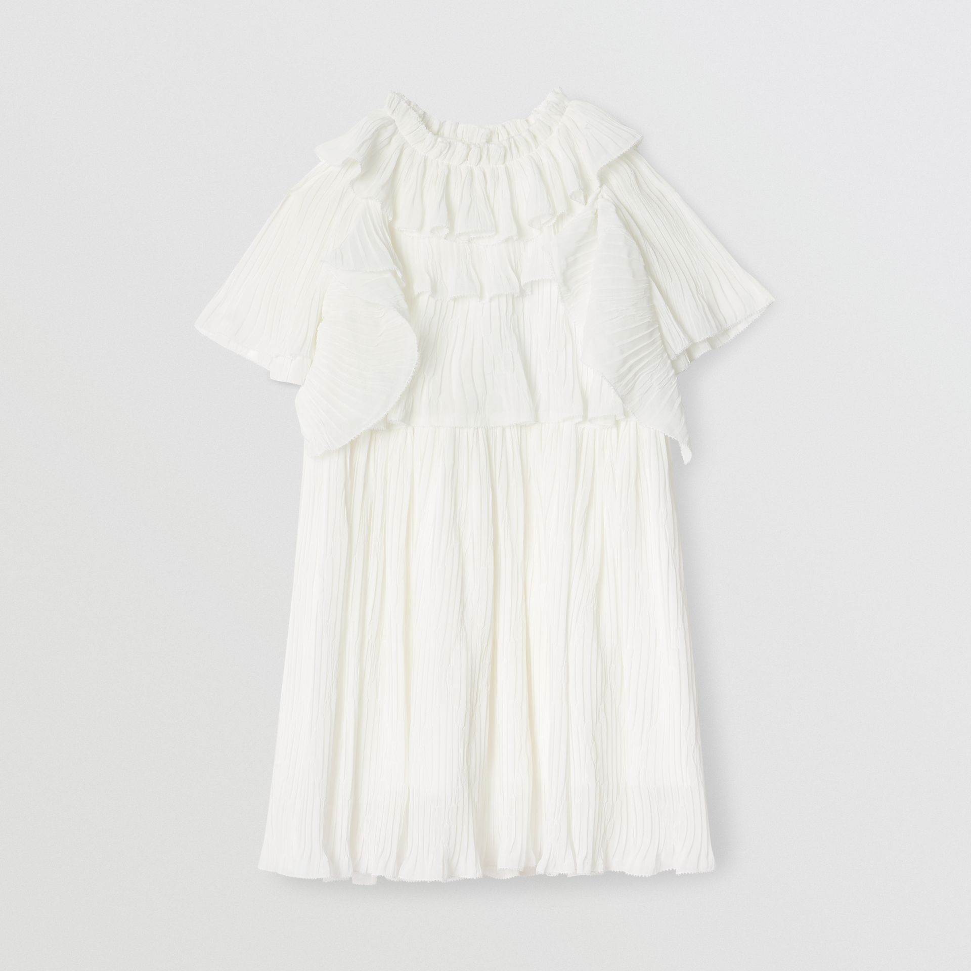 Robe en voile plissé à volants (Blanc Naturel) | Burberry Canada - photo de la galerie 0