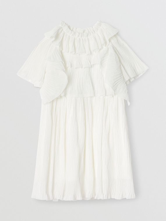 Ruffle Detail Plissé Voile Dress in Natural White