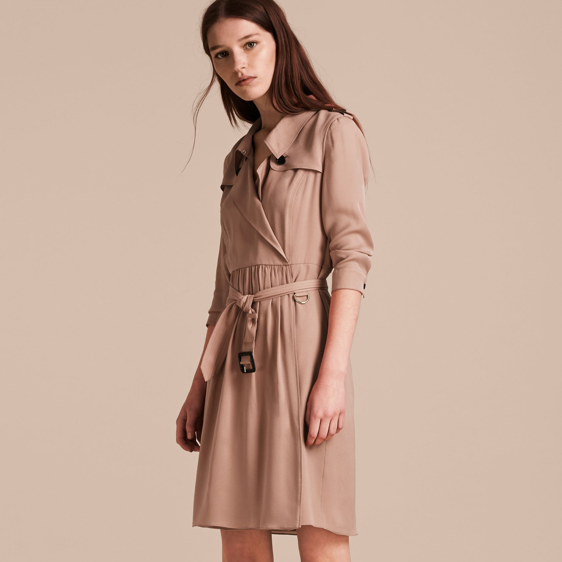Silk Trench Dress in Nude - gallery image 6