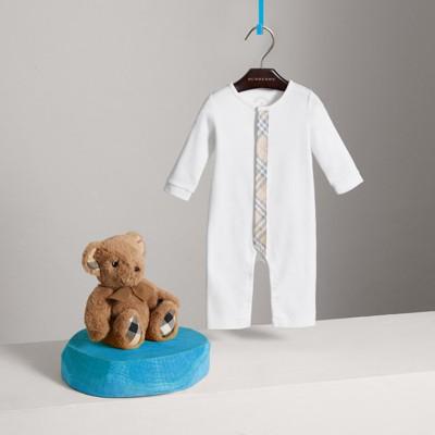 Burberry - Combinaison en coton avec garnitures à motif check - 3