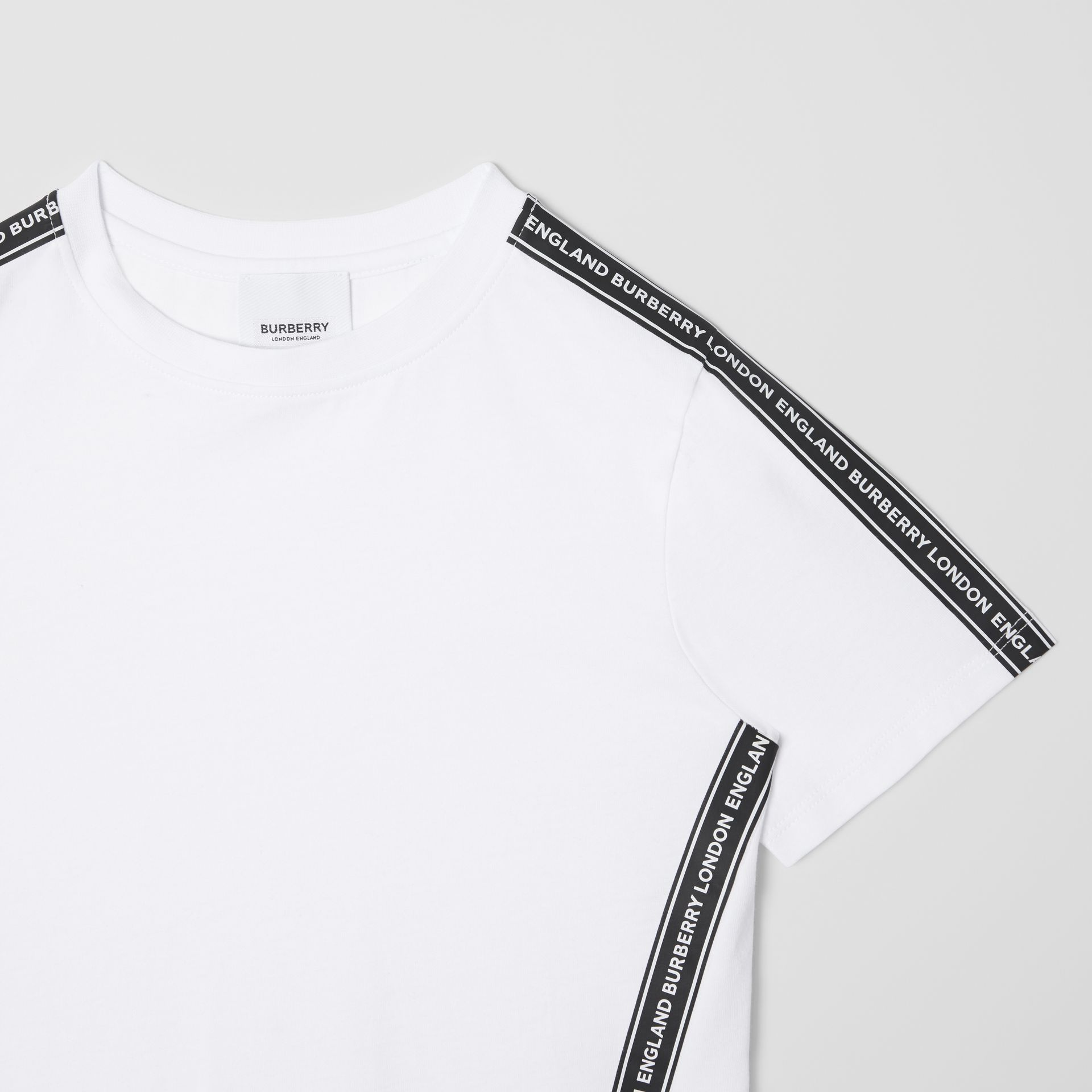 Logo Tape Cotton T-shirt in White | Burberry United Kingdom - gallery image 5