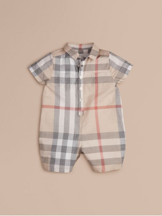Check Cotton Playsuit in Classic | Burberry