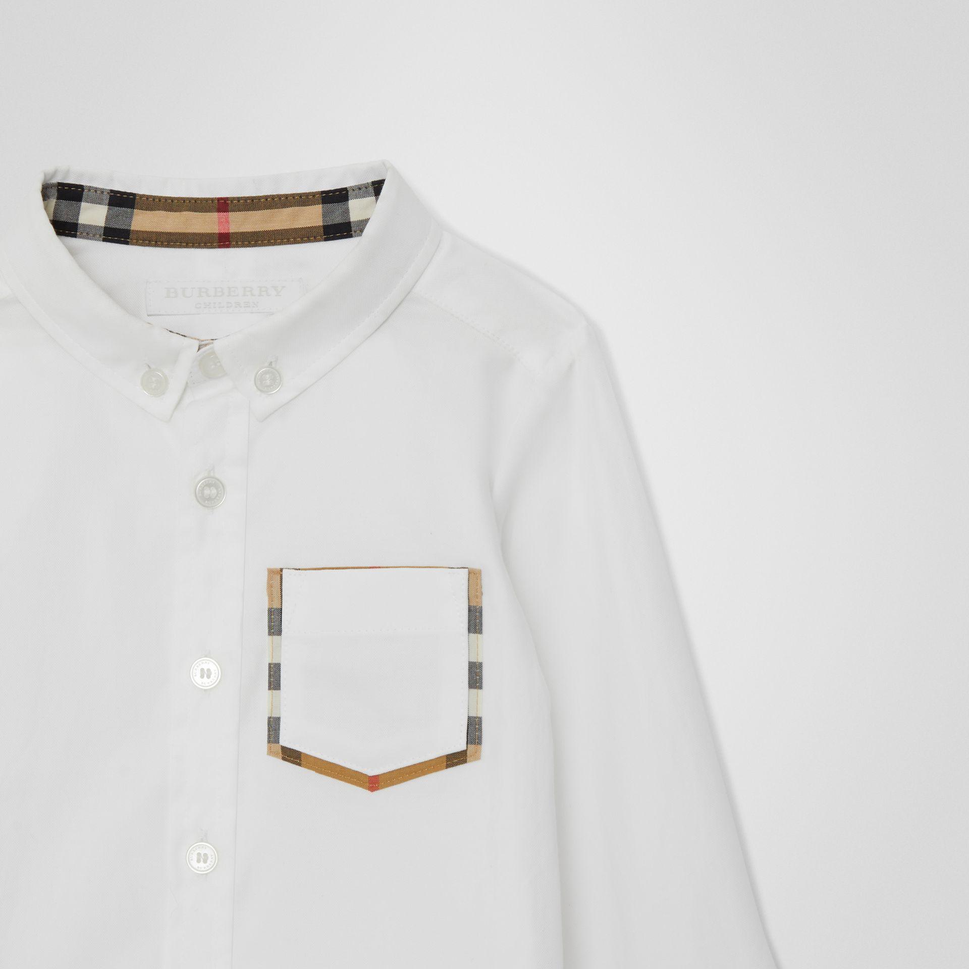 Check Detail Cotton Oxford Shirt in White - Children | Burberry Canada - gallery image 4