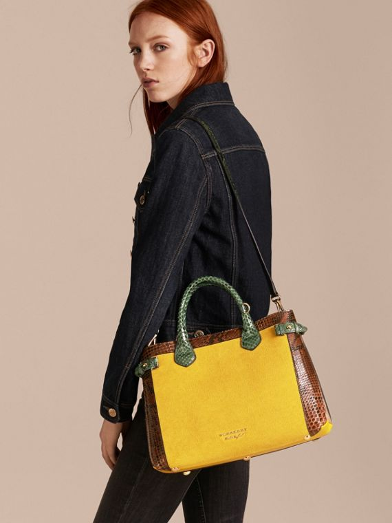 The Medium Banner in Leather, Python and House Check in Larch Yellow - Women | Burberry Australia - cell image 3